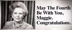 Newspaper advertisement of dubious originality congratulating Margaret Thatcher on her first day in office.